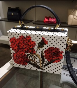 Dolce & Gabbana Polka Dot Floral Textured Leather Shoulder Bag - Back View