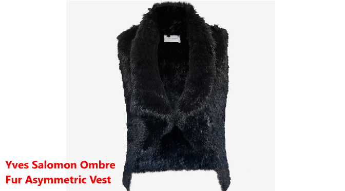 Yves Salomon Ombre Fur Asymmetric Vest in Navy