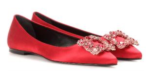 Roger Vivier Embellished Satin Ballerinas