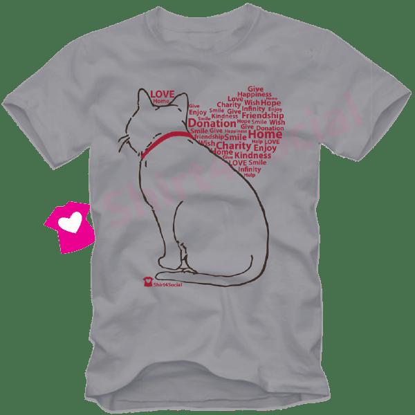 เสื้อยืดลายแมว CAT-05 สีเทา