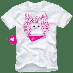 เสื้อยืดลายแมว CAT-07 สีขาว
