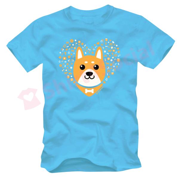 เสื้อยืดลายหมาน่ารัก สีฟ้า DOG-03