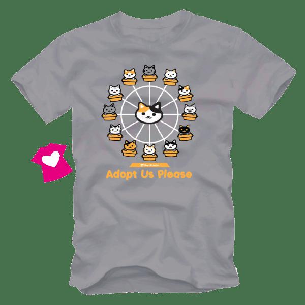 เสื้อยืดลายแมว CAT-12 สีเทา