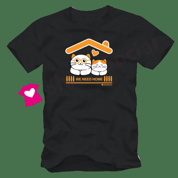 เสื้อลายแมว CAT-15 สีดำ