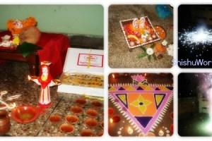 Diwali diyas, crackers, puja