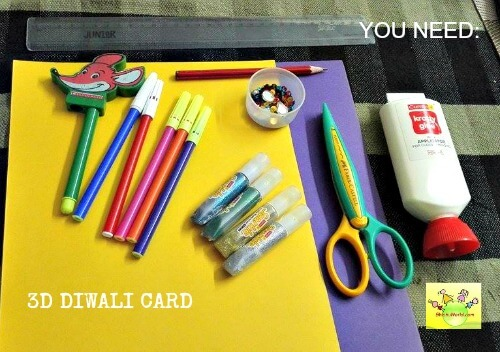 What you need to make 3d Diwali Card