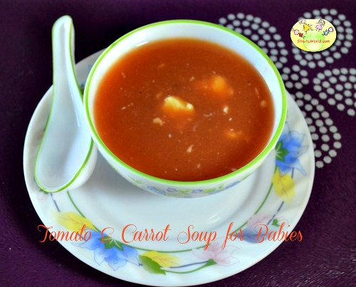 Tomato carrot soup for babies