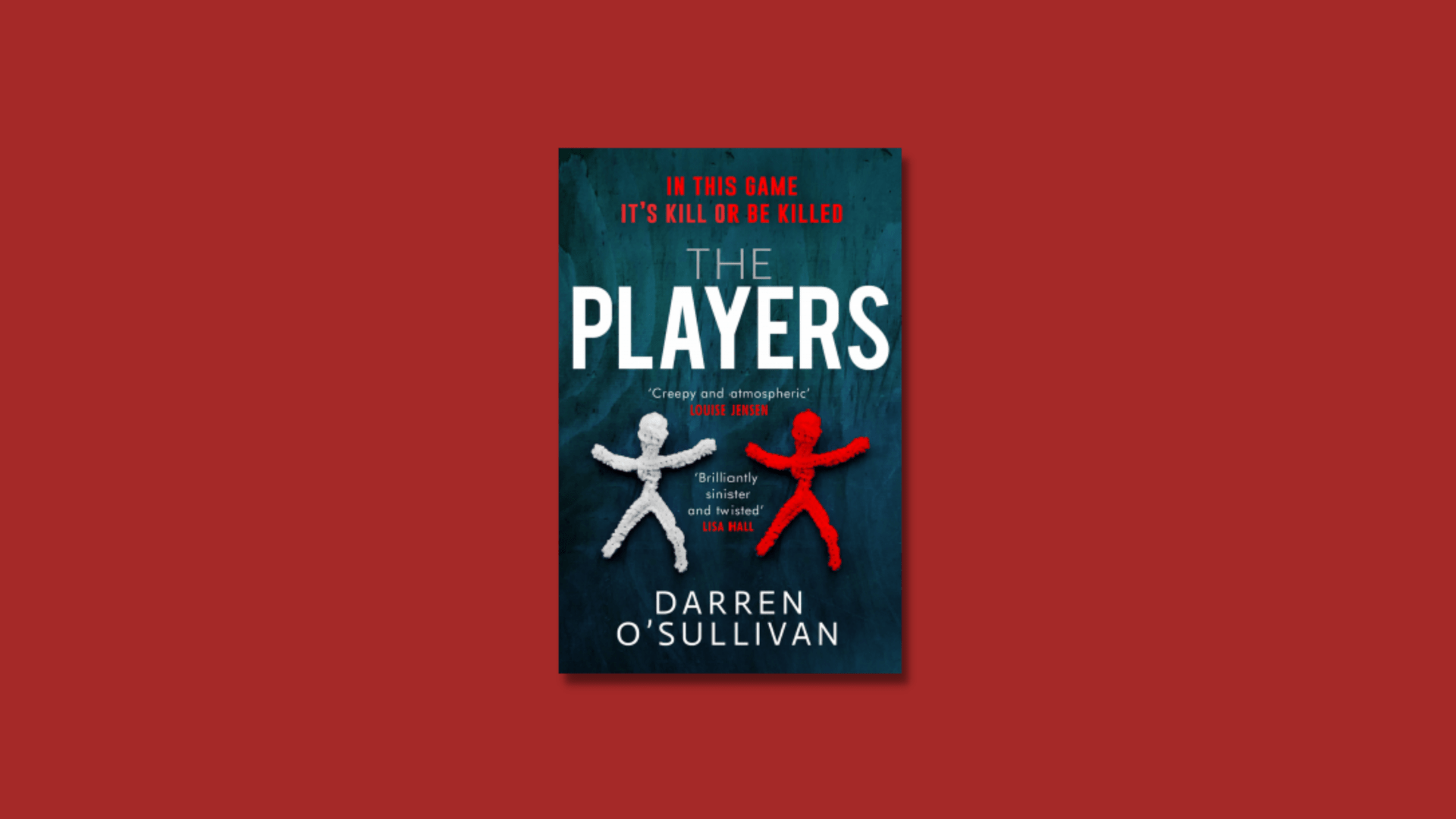 The cover of The Players by Darren O'Sullivan against a blood read background