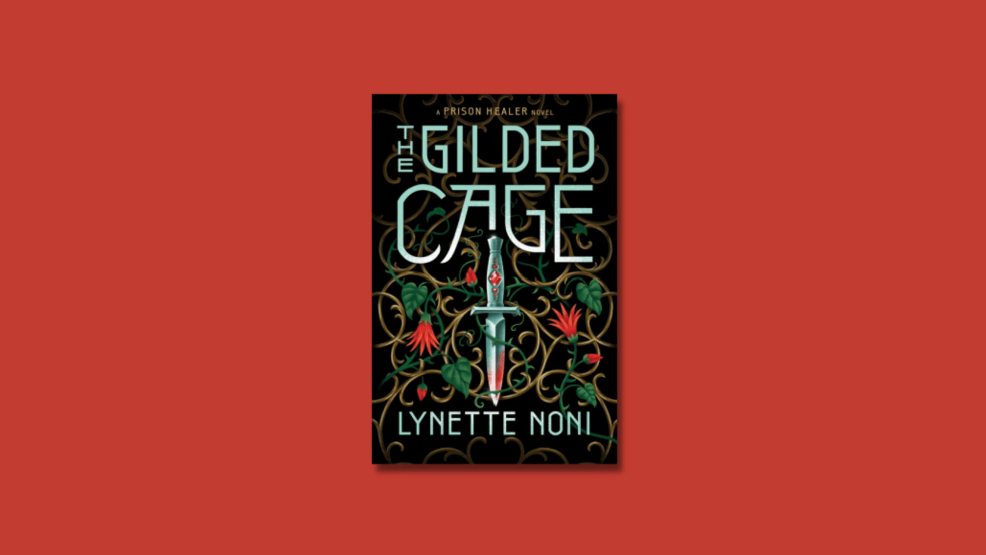 The cover of The Gilded Cage by Lynette Noni against an orangy/red background