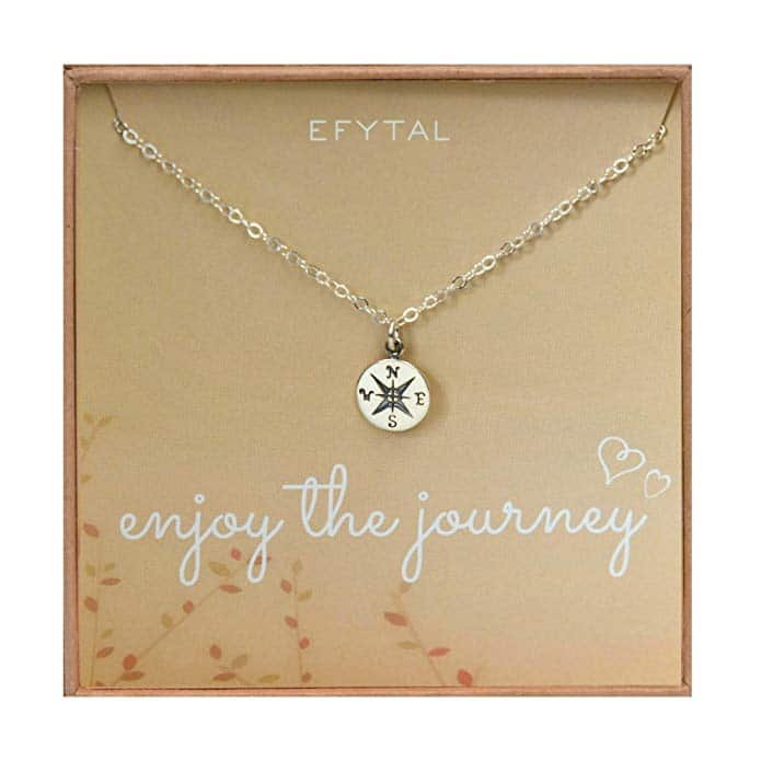 """Compass mecklace in a """"Enjoy the Journey"""" gift box."""