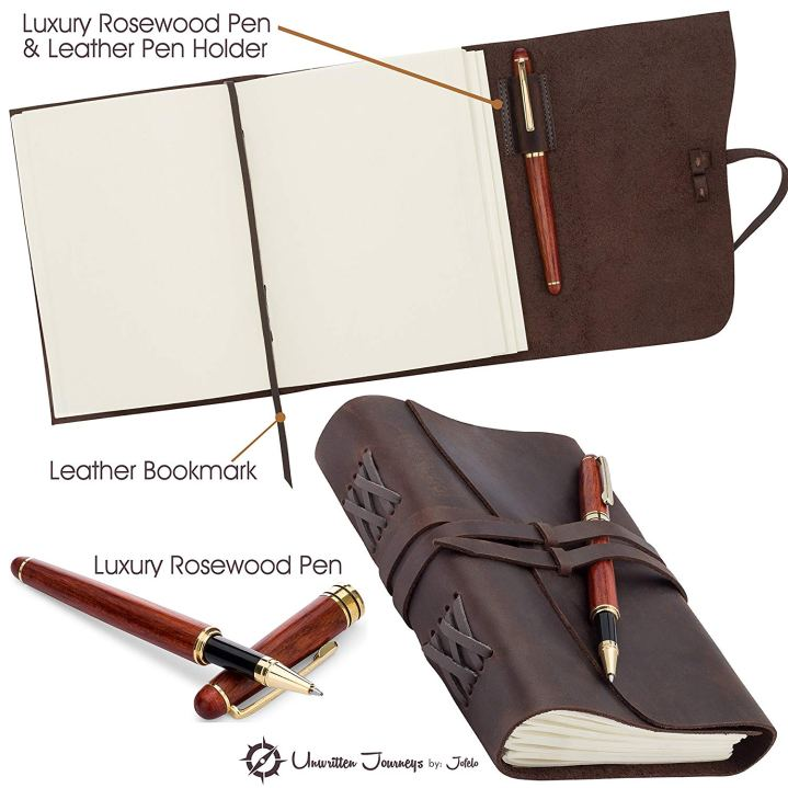 Leather journal with rosewood pen.
