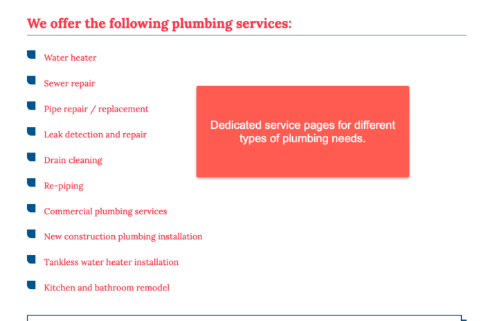 Plumbing service page