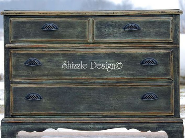 28 Feb Rich Old World Graphite Patina On ASCP Painted Chest Of Drawers