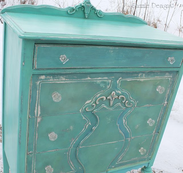 Shizzle design repurposed turquoise highboy dresser for Salon turquoise