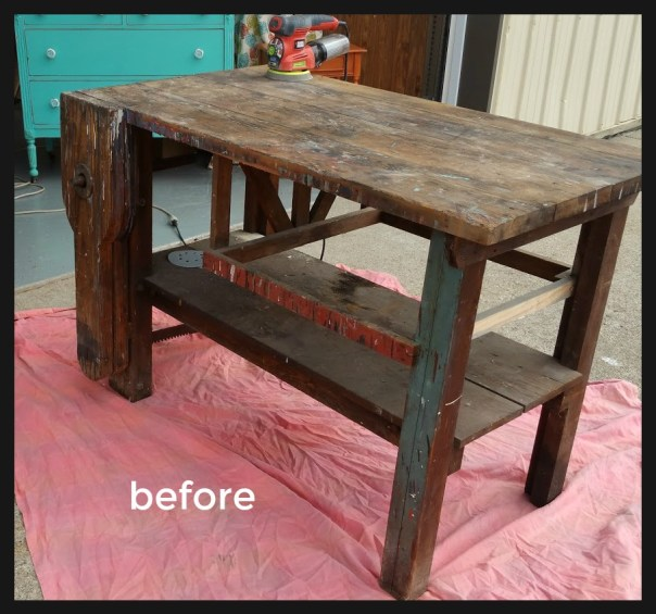 Farmhouse Kitchen Island From Antique Work Table