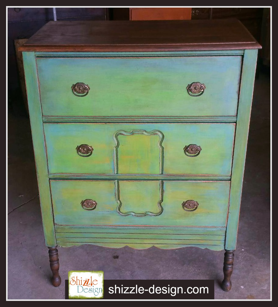Shizzle Design | Antique Highboy Dresser Painted In Blues And Green Chalk U0026  Clay Paints