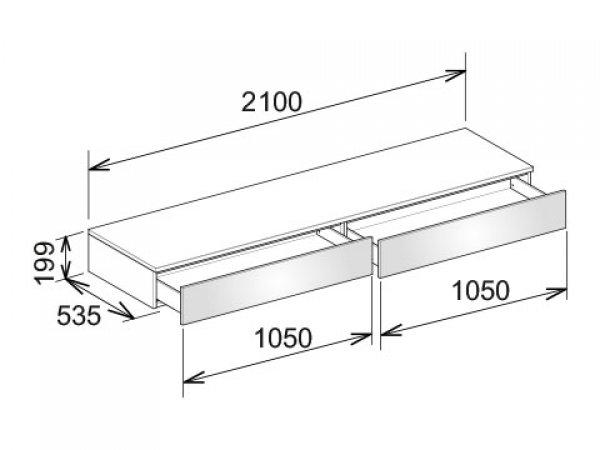 Keuco Edition 400 Sideboard 31770, 2 Auszüge, 2100 x 199 x