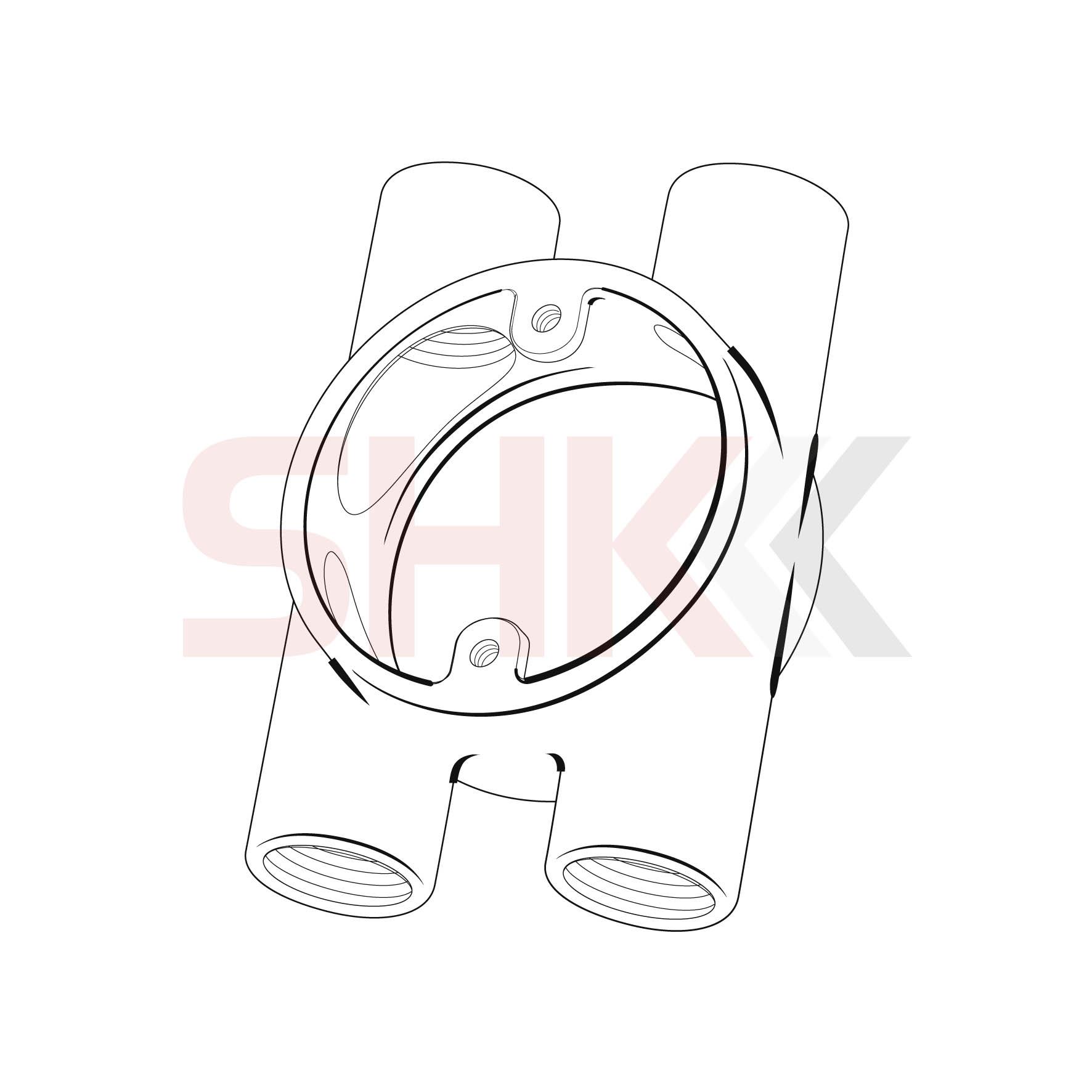 20mm Circular Junction Box H Branch 4 Way Shk