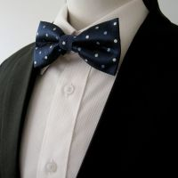 Navy Light Blue White Dots Mens Bow Tie Pre-tied Dress ...