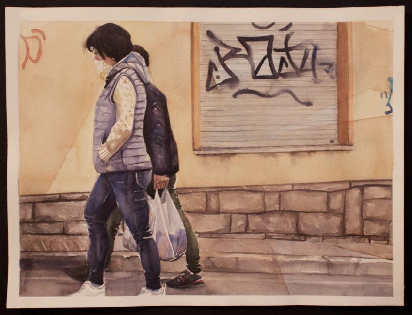Maria Aramu - La Spesa, acquerello su carta 38,5x28,5 cm
