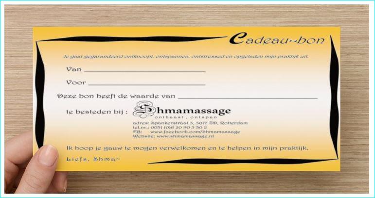 Cadeaubon Massagepraktijk voor Vrouwen.