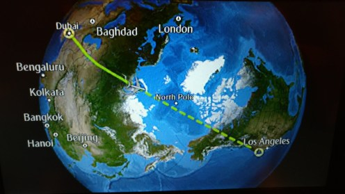 Dubai to Los Angeles route (North Pole included)