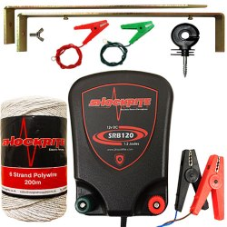SRB120 Energiser, Insulators, White Electric Fence Wire, Earth Stake and Connection Cables