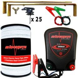 ShockRite SRB60 0.6J Electric Fence Energiser, 200m 20m White Tape, Connection Clips, Earth Stake and Tape Insulators