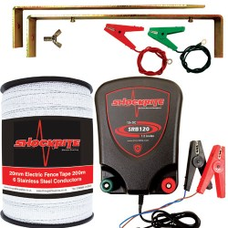 ShockRite Electric Fencing Energiser SRB120 1.2J, Connection Clips, Earth Stake and 200m 20m White Polytape