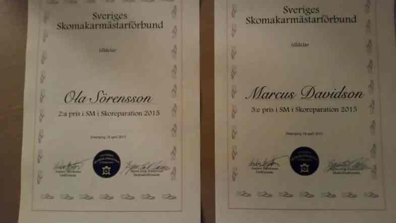 Diplom till de pallplacerade. Bild: Davidsons Skomakeris Facebooksida