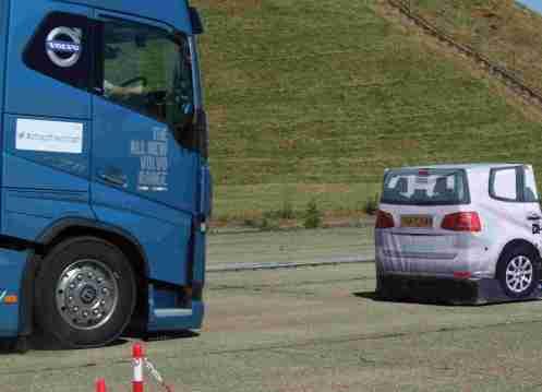 Volvo truck testing autonomous braking
