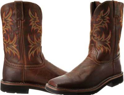 Justin Boots Men's Stampede Pull-On Square Toe Work Boot
