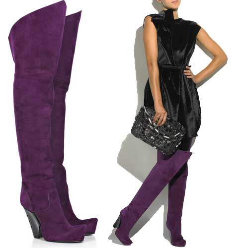 marc jacobs thigh highs Marc Jacobs purple suede thigh high boots