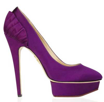 Charlotte Olympia purple satin 'Paloma' platform shoes