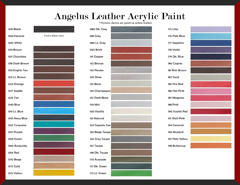 Boot Leather Dye Color Chart