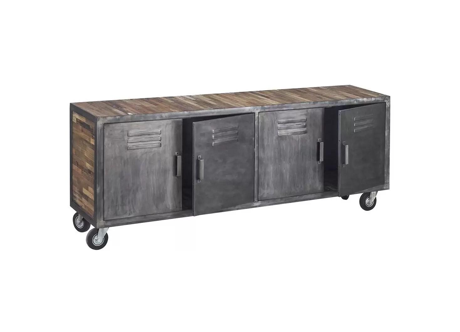 meuble tv locker sur roulettes 4 portes