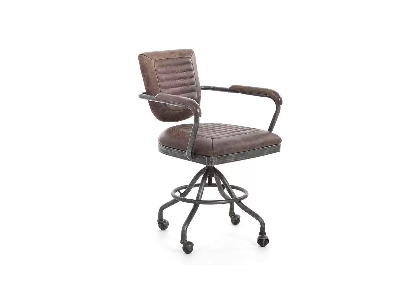 fauteuil de bureau cuir marron vintage et metal h84 cm