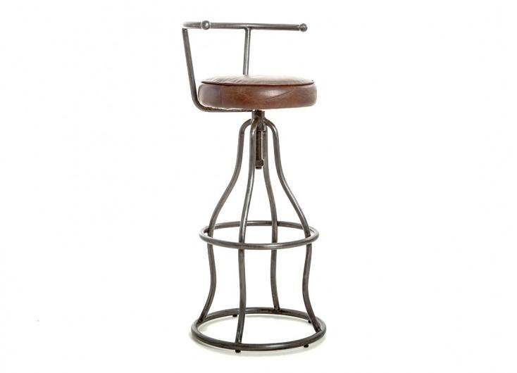 tabouret de bar avec dossier assise cuir marron et metal