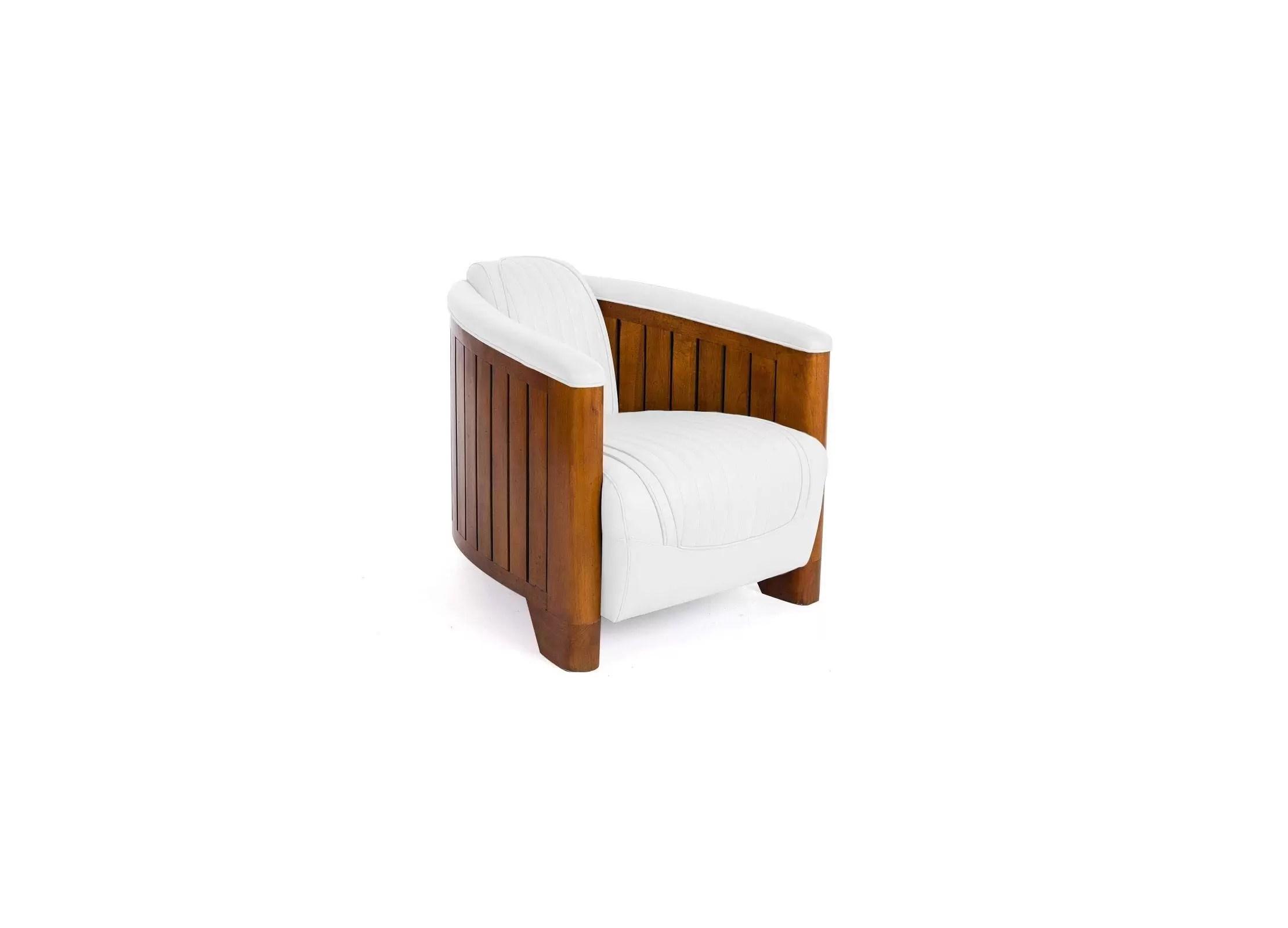 Fauteuil Club Cuir Blanc Structure En Bois Design Et Relax