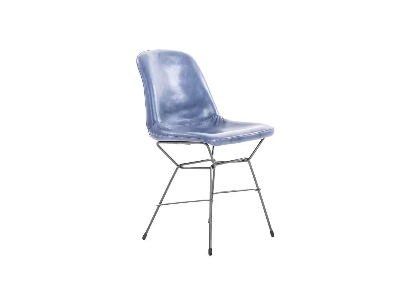 chaise rockford cuir bleu et metal