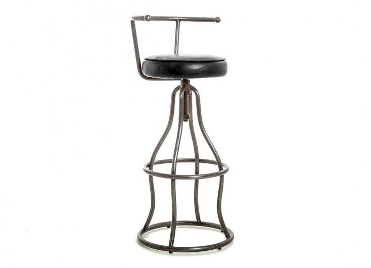 tabouret de bar avec dossier assise cuir noir et metal