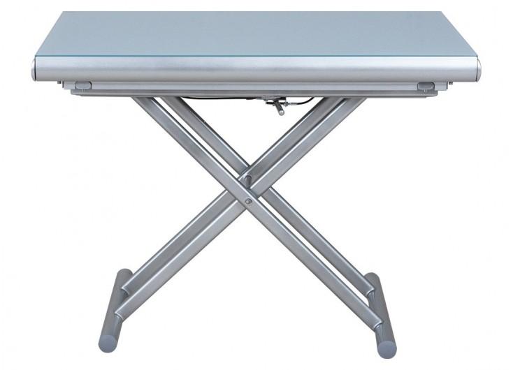 table basse extensible relevable gris et blanc