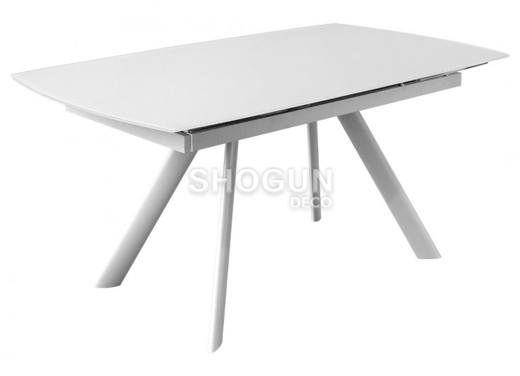 table extensible en verre trempe finition blanche