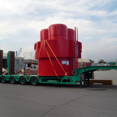 chimney sections oversize transport to Dhekelia