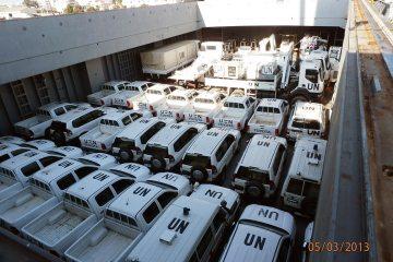 Unloading UN vehicles