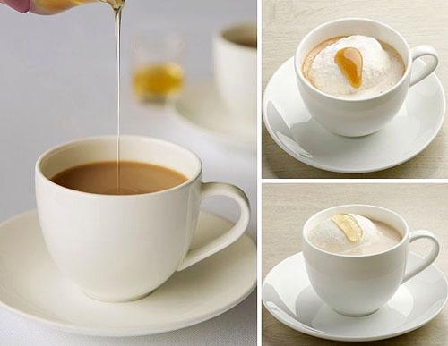 日本蜂蜜のはちみつミルク珈琲(左)、W DRIP SHOT 胡桃(右上)、ジャスミンミルク紅茶
