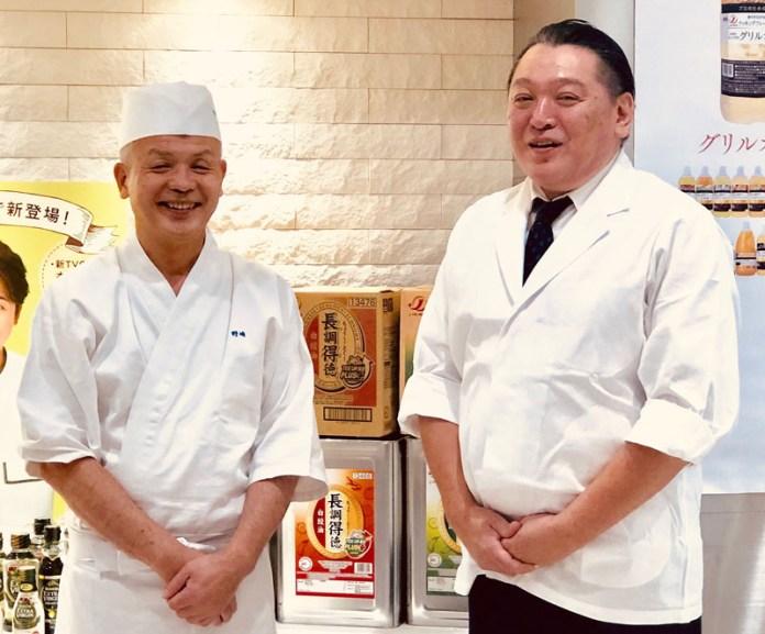 著名料理人の野崎洋光氏㊧(分とく山)、黒須浩之氏(神楽坂くろす)が講師に(Jオイルミルズ料理セミナー)