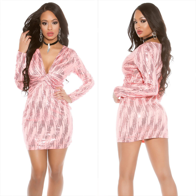 2de7a487bc Party dress with sequins Coral - Sexy party clothes for women cheap