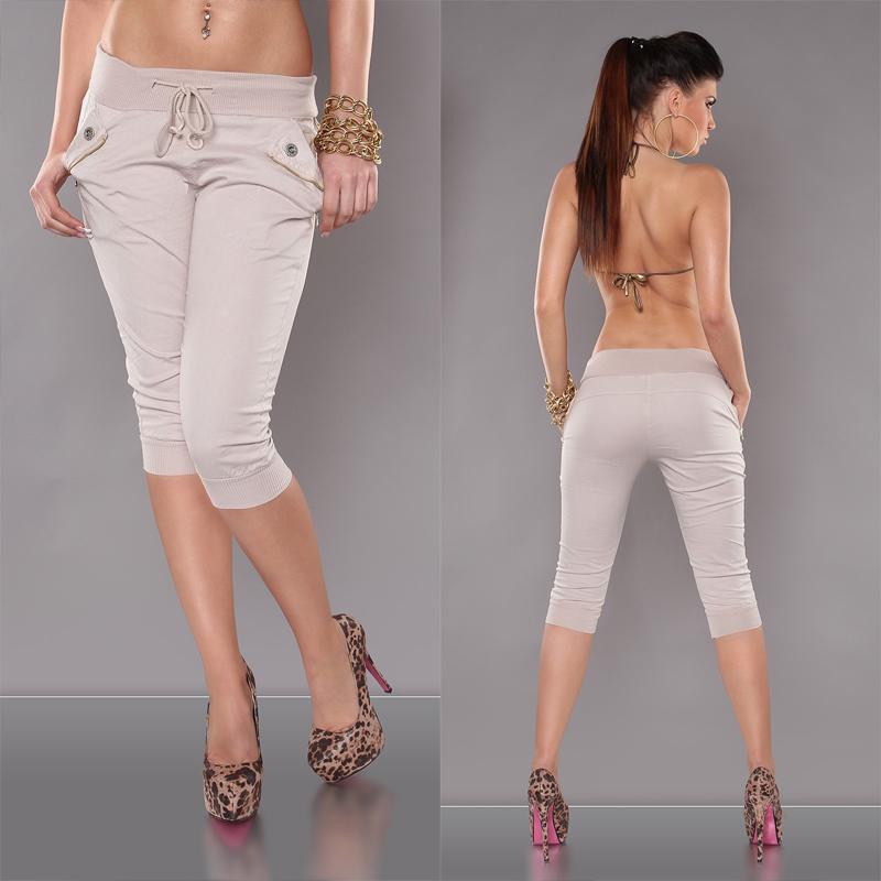 KouCla capri pants Beige - Shorts with zippers 4c8e86ff93
