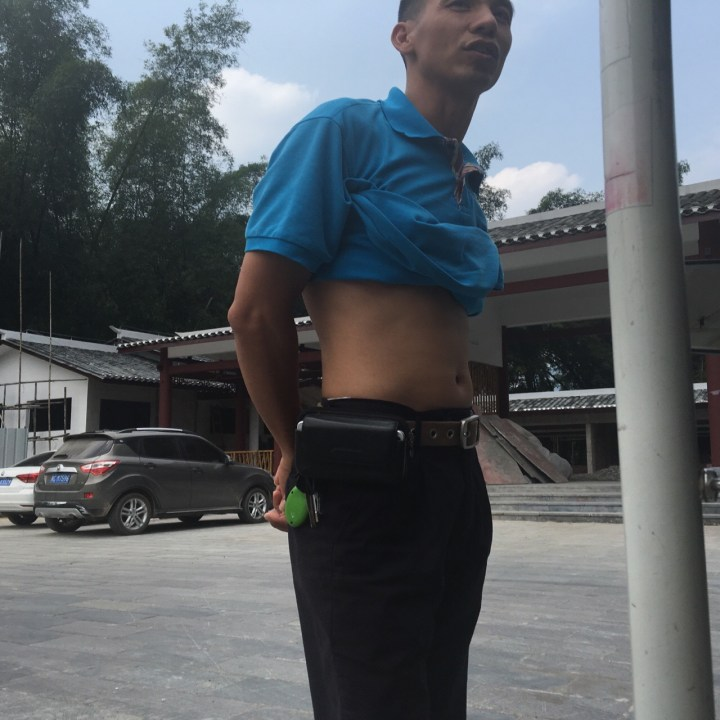 The Chinese shirt roll. I eventually joined in too (I'll spare you a view of my stomach)